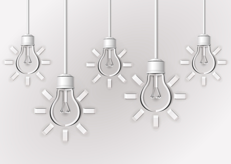 abstract light bulbs made of white paper Çizim