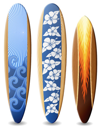 Wooden surfboards with design contains transparency Иллюстрация