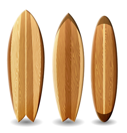 Illustrazione di tavole da surf con struttura di legno contiene trasparenza Vettoriali