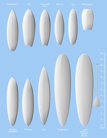 白いきれいなサーフボードのセットは、透明部分を含む  イラスト・ベクター素材
