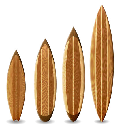 Illustration of surfboards with wood texture contains transparency Vectores