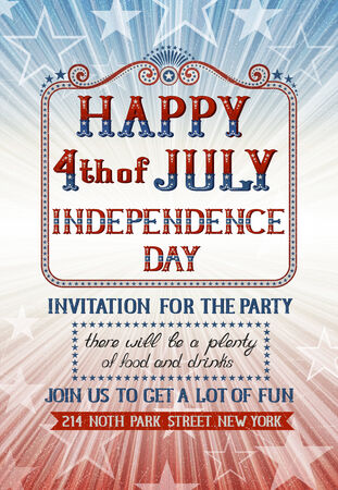 fourth july: Invitation for fourth of july holiday  EPS 10 contains transparency