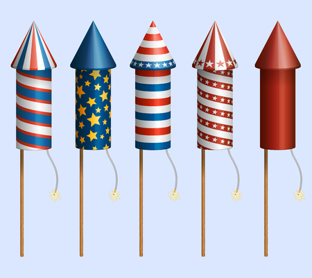 Set of pyrotechnic rockets, with design for fourth of July, and other holidays, EPS 10 contains transparency