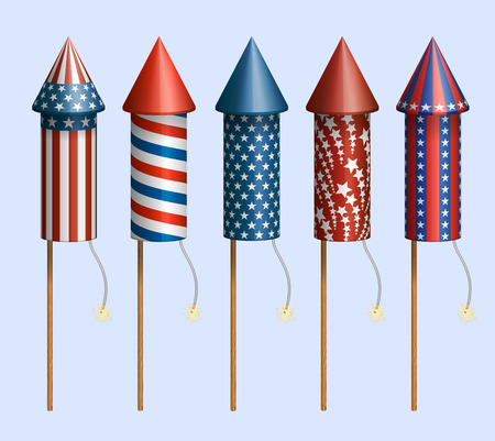 pyrotechnic: Set of pyrotechnic rockets, with design for fourth of July, and other holidays,  contains transparency  Illustration