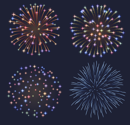 light trails: Set of fireworks,  contains transparency