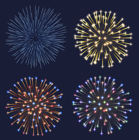 christmas in july: Set of fireworks, contains transparency  Illustration