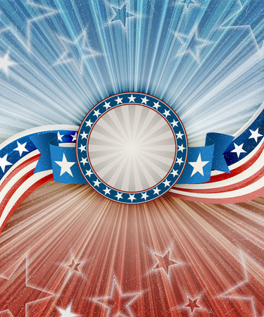 Abstract american patriotic background with banner, Contains transparency