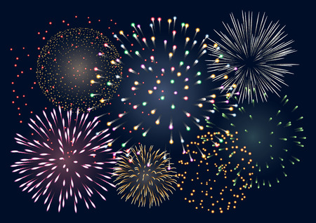 colorful fireworks, EPS 10 contains transparency Vectores