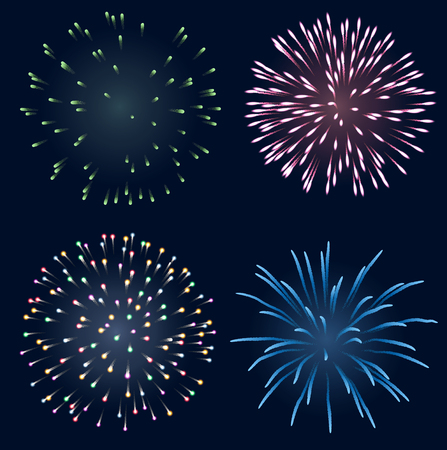 pyro: Set of fireworks, contains transparency  Illustration