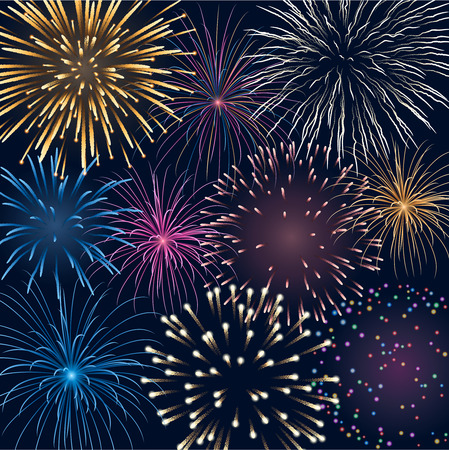 feast day: colorful fireworks, contains transparency