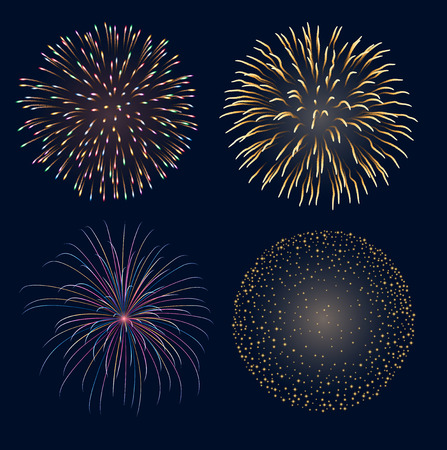 Set of fireworks, contains transparency  Vectores