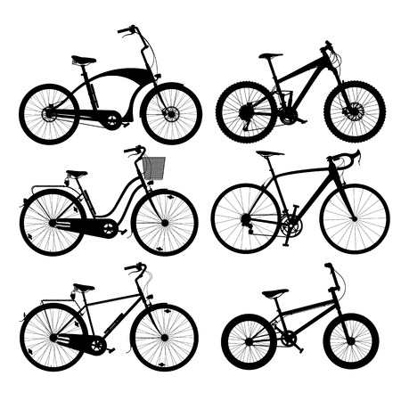 cruiser bike: Set of silhouettes of bikes, isolated on white