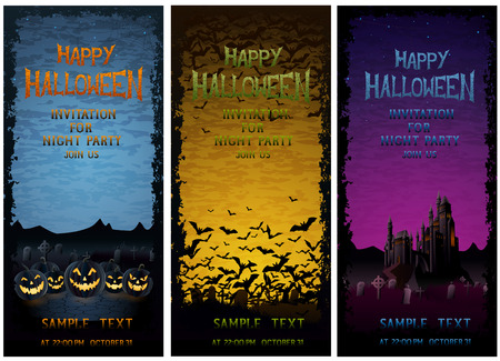 ghastly: Halloween party ivitations, EPS 10 contains transparency.