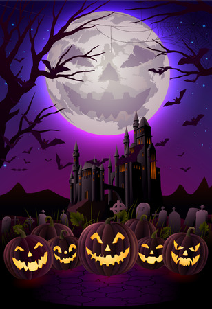 haunted: Spooky halloween night, background for greeting card, EPS 10 contains transparency Illustration