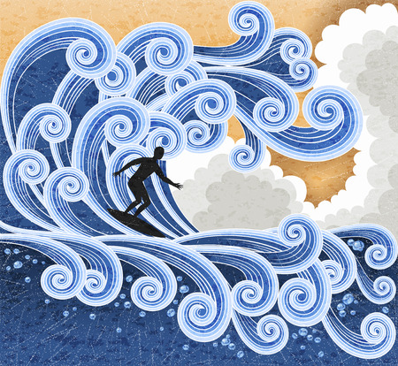 water waves: Surfer rides on a big stylized wave. Retro stile illustration. EPS 10 contains transparency