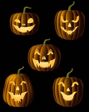 ghastly: Set of Jack O Lanterns, faces cut on pumpkin, detailed illustration, EPS 10, contains transparency.