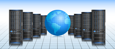 Row of servers with globe, illustration of global internet, EPS 8