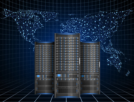 web hosting: Illustration of server with abstract map on the background, EPS 10 contains Illustration