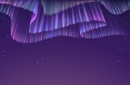 ionosphere: High detailed illustration of polar lights on the starry sky, EPS 10 contains transparency, mesh used.