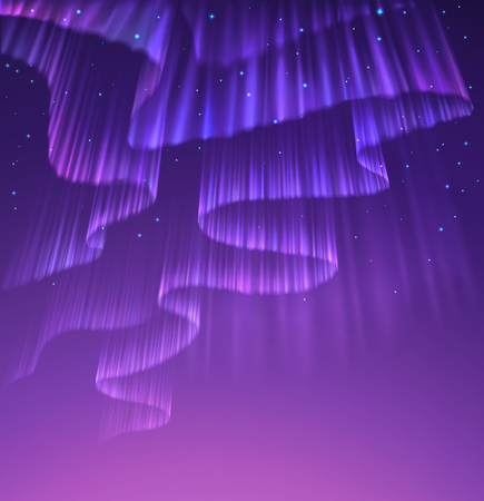 High detailed illustration of polar lights on the starry sky, EPS 10 contains transparency, mesh used.