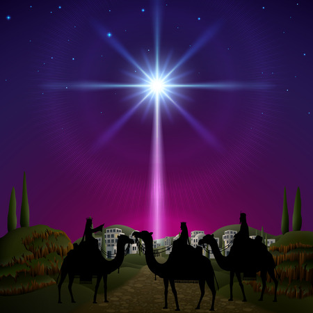 Three wise men follow the star of Bethlehem. EPS 10, contains trasparency, contains mesh. Vettoriali