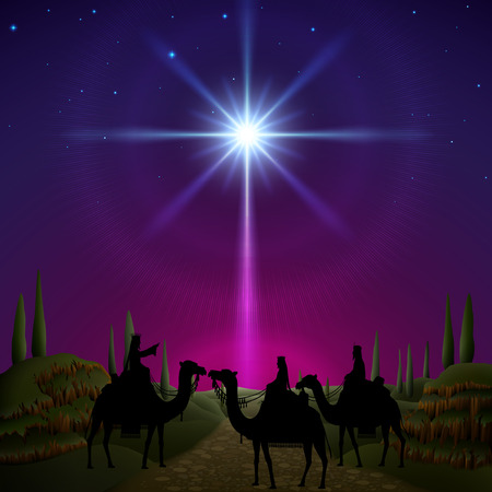 Three wise men follow the star of Bethlehem. EPS 10, contains trasparency, contains mesh. 일러스트