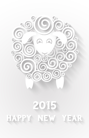 Abstract paper sheep, 2015 new year symbol, with extensional shadows and 3d effects, EPS 10 contains transparency Illustration