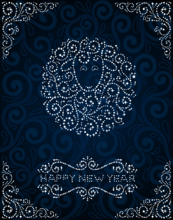 sheep wool: New Year greeting card with abstract sheep made of stars