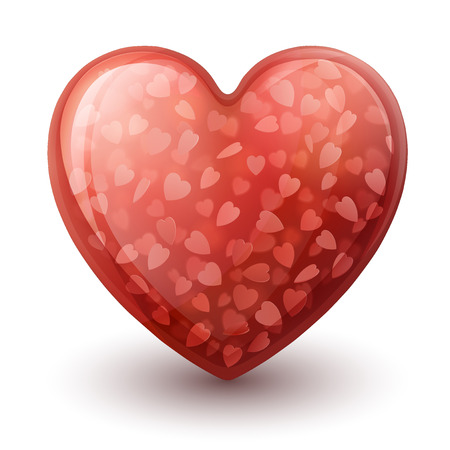 three dimensional: Illustration of three dimensional shiny glossy heart symbol, made out of glass, with little hearts inside Illustration