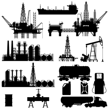 Set of detailed silhouettes of oil industry objects, EPS 8 Vector