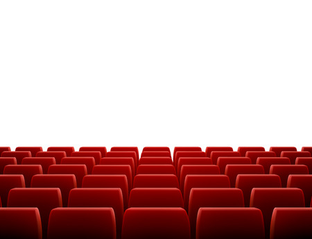 A movie theater stage with row of red seats Vectores