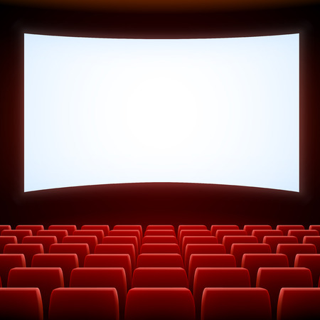 in a row: A movie theater stage with row of red seats Illustration