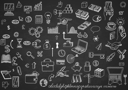 business finance: Set of hand drawn icons, on chalkboard, for creating business concepts and illustrating ideas, EPS 10 contains transparency. Illustration