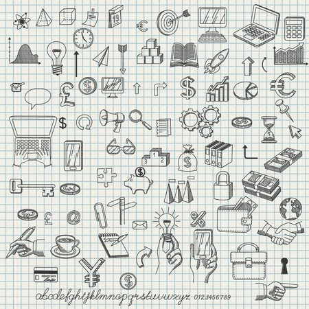 creating: Set of hand drawn icons for creating business concepts and illustrating ideas, EPS 8