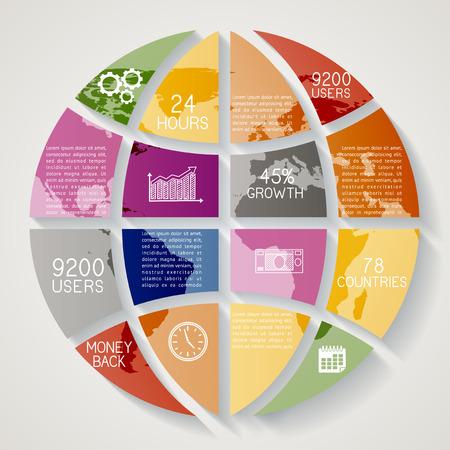 Modern infographics option banner, abstract world map, EPS 10