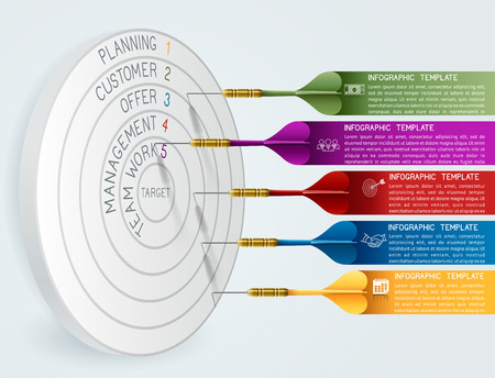 dart on target: Business concept template Business target reaching idea with dart. Can be used for education, banner, template, diagram. EPS 10 contains transparency