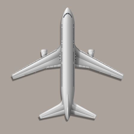 fuselage: High-detailed vector plane, on grey background