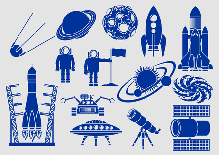 cartoon astronaut: Set of icons, space ships, planets, rockets, astronauts, etc