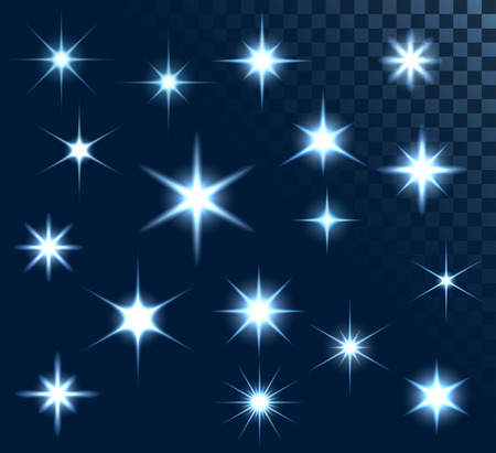 cosmology: Set of stars and sparkles, collection of design elements, on transparent background, EPS 10 Illustration