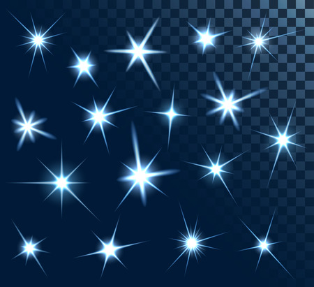 Set of stars and sparkles, collection of design elements, on transparent background, EPS 10 Vectores