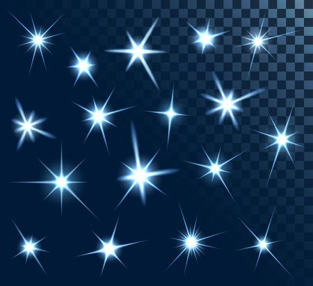 lucero: Conjunto de estrellas y destellos, recolecci�n de elementos de dise�o, en fondo transparente, 10 EPS