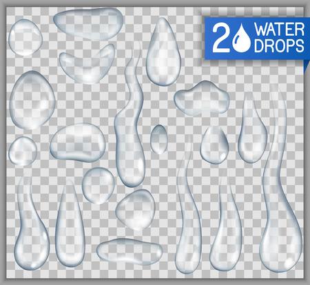 Transparant, realistisch, geïsoleerde waterdruppels, EPS-10 bevat transparantie.