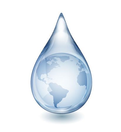白いベクトル図、EPS 10 に分離された現実的な単一水滴が透明部分を含む