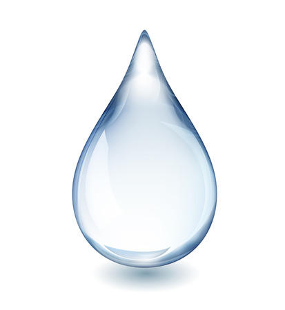 Realistic single water drop isolated on white vector illustration, EPS 10 contains transparency Çizim