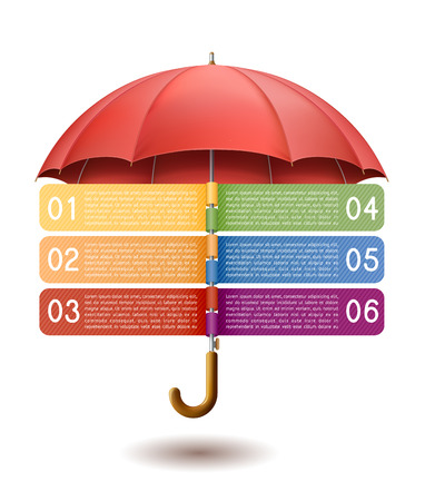 Modern infographics option banner with red umbrella EPS 10 contains transparency. Ilustração