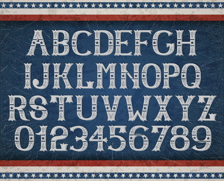 Vintage american font on retro background EPS 10 contains transparency layered vector file. Illustration