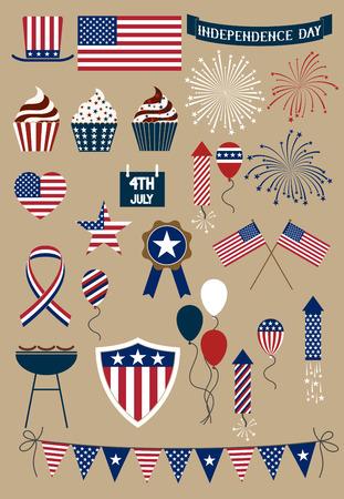 independencia: Conjunto de elementos de dise�o para d�a de la independencia americana adelante de julio