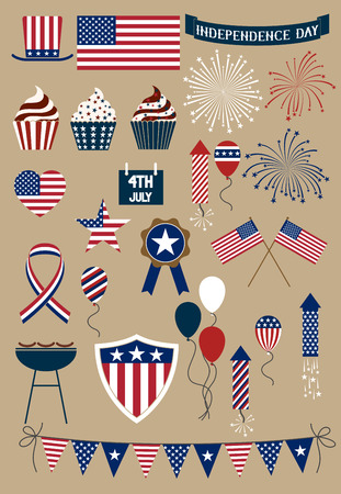 Set of design elements for american independence day forth of july Vector