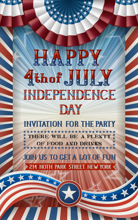 patriotic background: Greeting card for fourth of july holiday. EPS 10 contains transparency Illustration