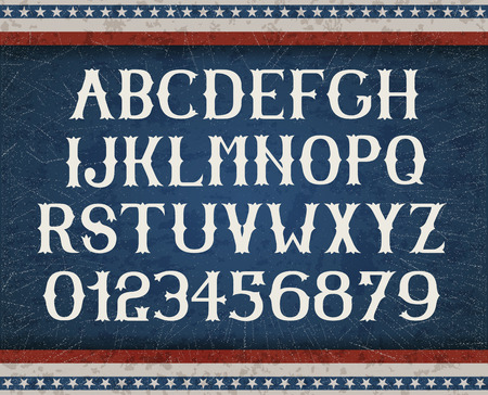 Vintage american font on retro background EPS 10 contains transparency layered vector file. Stock Illustratie